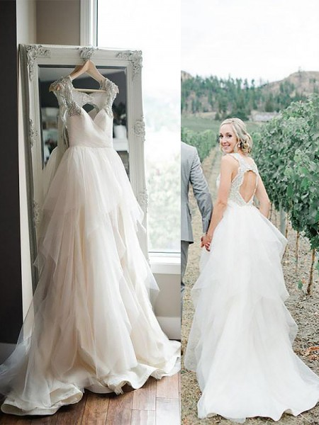 A-Line/Princess Sleeveless Straps Sweep/Brush Train Tulle Wedding Dresses