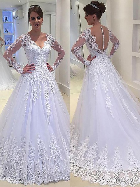 A-Line/Princess Long Sleeves V-neck Applique Court Train Tulle Wedding Dresses