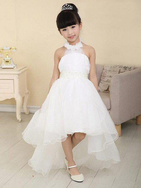 A-Line/Princess Sleeveless High Neck Beading Asymmetrical Organza Flower Girl Dresses