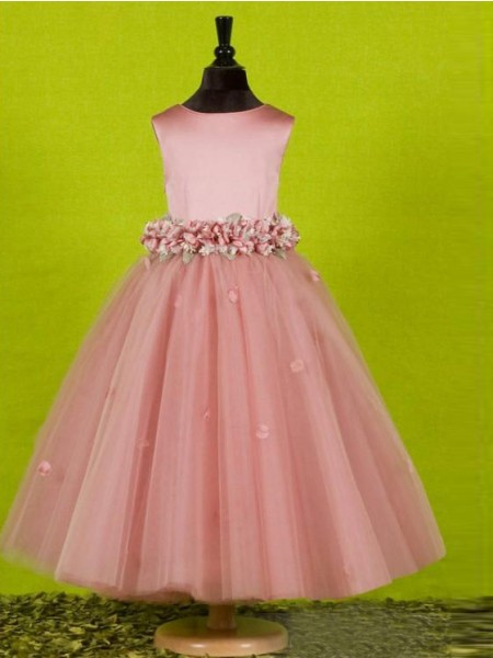 A-Line/Princess Sleeveless Scoop Bowknot Floor-Length Tulle Flower Girl Dresses