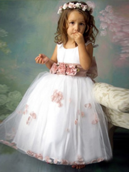 A-Line/Princess Sleeveless Scoop Hand-Made Flower Floor-Length Tulle Flower Girl Dresses