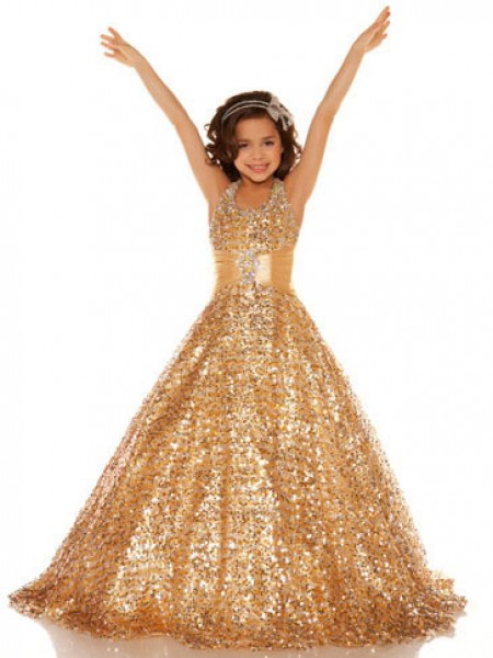 A-Line/Princess Sleeveless Halter Sequin Floor-Length Sequins Flower Girl Dresses