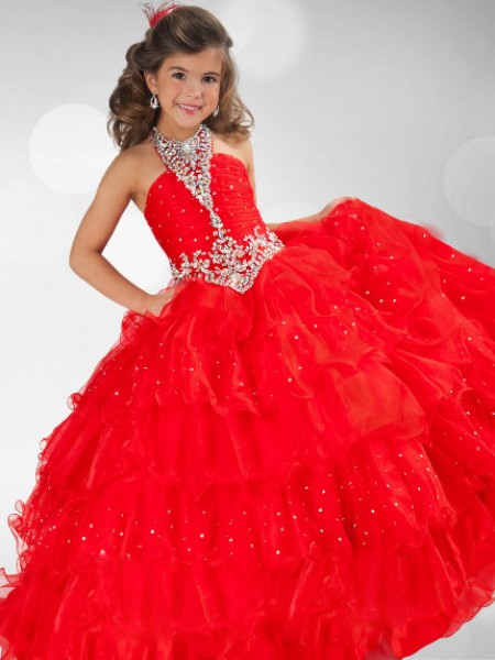 Ball Gown Sleeveless Halter Sequin Floor-Length Organza Flower Girl Dresses