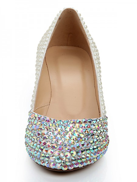 Women's Patent Leather Wedge Heel With Rhinestone Pearl White Wedding Shoes
