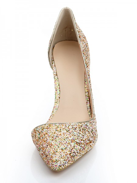 Women's Patent Leather Closed Toe Stiletto Heel With Sequin High Heels