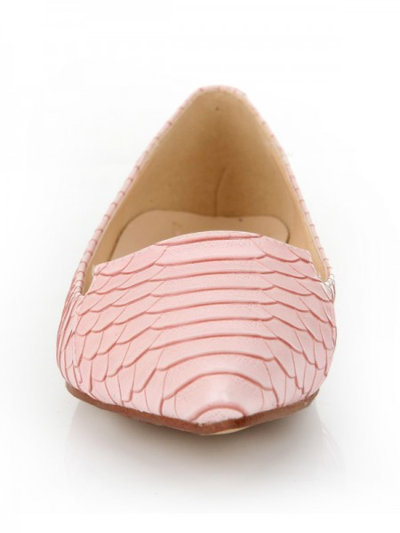 Women's Sheepskin Closed Toe Flat Heel With Fish-scale Pattern Casual Flat Shoes