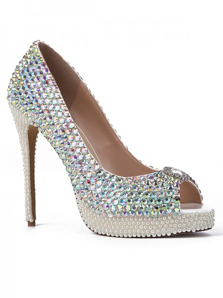 Women's Sheepskin Peep Toe with Rhinestones Stiletto Heel Platform High Heels