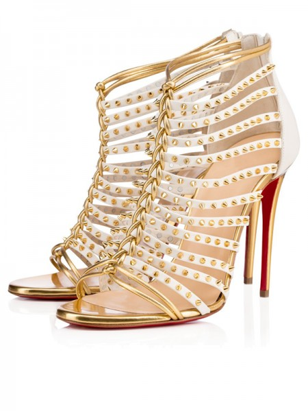 Women's Patent Leather Peep Toe Stiletto Heel Gold Sandals Shoes
