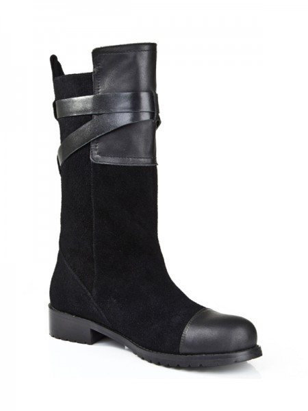 Women's Suede Kitten Heel Closed Toe With Buckle Mid-Calf Black Boots