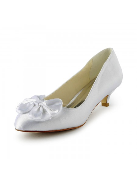 Women's Satin Kitten Heel Pumps With Bowknot White Wedding Shoes