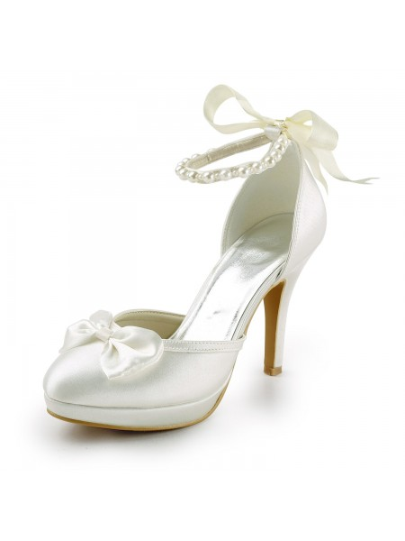 Women's Satin Stiletto Heel Closed Toe Platform Pumps White Wedding Shoes With Bowknot