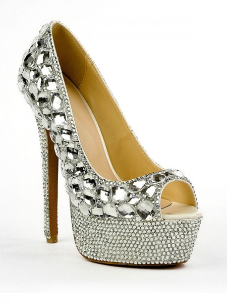 Women's Patent Leather Peep Toe Stiletto Heel Platform With Rhinestone High Heels