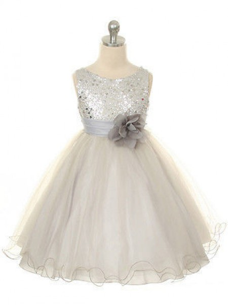 Ball Gown Sleeveless Jewel Hand-Made Flower Tea-Length Organza Flower Girl Dresses