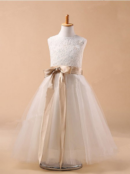 Ball Gown Sleeveless Jewel Bowknot Tea-Length Tulle Flower Girl Dresses