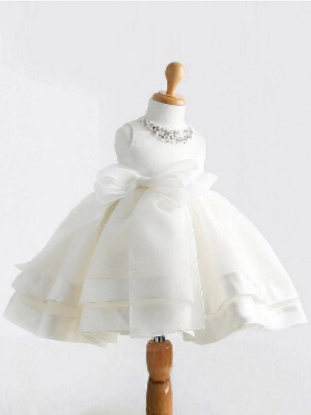 Ball Gown Sleeveless Jewel Bowknot Floor-Length Satin Flower Girl Dresses